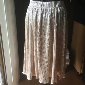 NY & Co Gold Metallic Shining Skirt, Size L